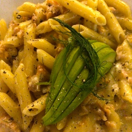 Pasta in a light cream sauce composed of Butternut, Prosciutto and Pine Nuts.