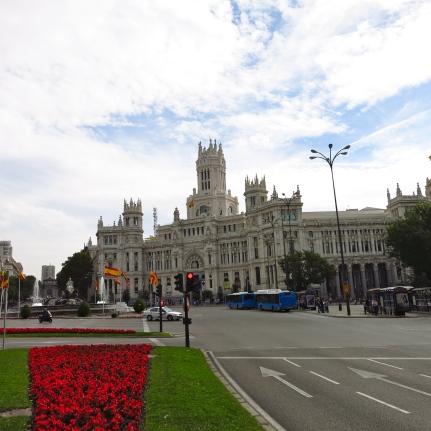 The Plaza de Cibeles is a square with a neo-classical complex of marble sculptures with fountains that has become an iconic symbol for the city of Madrid. It sits at the intersection of Calle de Alcalá, Paseo de Recoletos and Paseo del Prado.