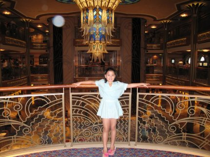 Adi by the Atrium. Reminiscent of the Titanic with a Grand Hall and Staircase. Meet & Greet with the Characters are usually held at the Lobby.