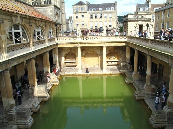Bath was founded upon natural hot springs with the steaming water playing a key role throughout its history. Lying in the heart of the city the Roman Baths were constructed around 70 AD as a grand bathing and socialising complex. It is now one of the best preserved Roman remains in the world. 1,170,000 litres of steaming spring water reaching 46 °C still fill the bathing site every single day. The Romans believed that this was the mystical work of the Gods but we now know that the water source, which comes from the King's Spring, fell as rain water around 10,000 BC.