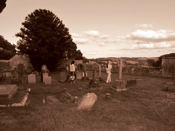 On our way to the town's pub, we passed by this Eerie cemetery.