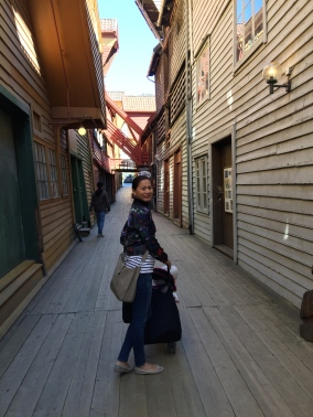Bryggen is a bit like being on a film set with quirky little alleyways. Frontage is beautiful, but the real treasures are to be found up the alleyways. Lovely galleries, cute cafes and souvenir shops awaiting to be discovered.