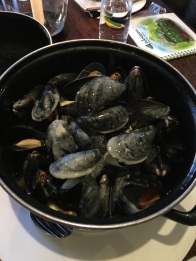 Moulles Frites gone in minutes! We were so hungry! I was slurping the butter soup without guilt!