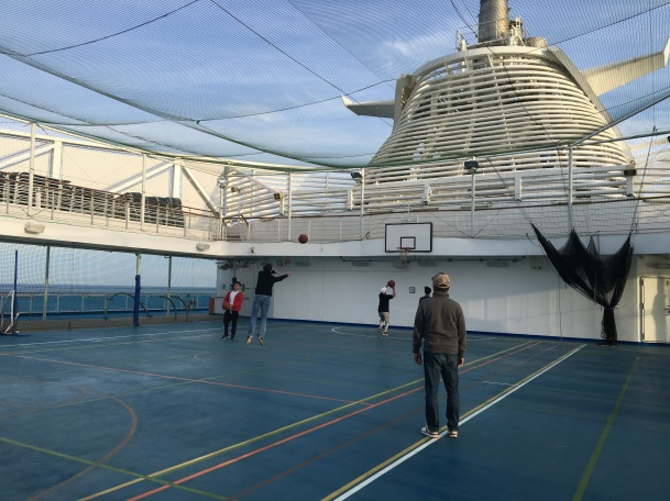 """The bulk of Regal Princess' recreation options is located on Deck 18, in an area dubbed """"Princess Sports Central."""" There, you'll find a game lounge, table tennis, a full basketball court (that can easily transition into a volleyball court), putting greens, a golf practice cage and laser shooting range. On Deck 19, The Lawn Court is available for putting, bocce, croquet or lawn bowling."""