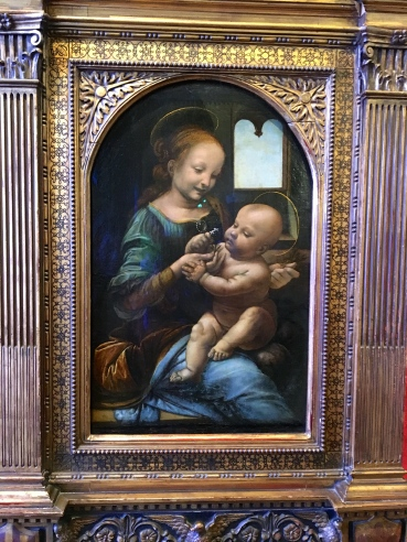 There are around 14 Leonardo da Vinci paintings, according to recent art history sources. The Hermitage boasts of two of these Da Vinci masterpieces. This one is Madonna with a Flower (commonly known as Benois Madonna) of 1478,