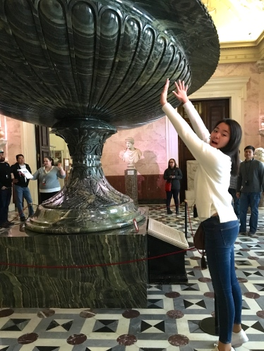 Adi in contrast to the Kolyvan Vase - The biggest vase in the world. You could drown inside.
