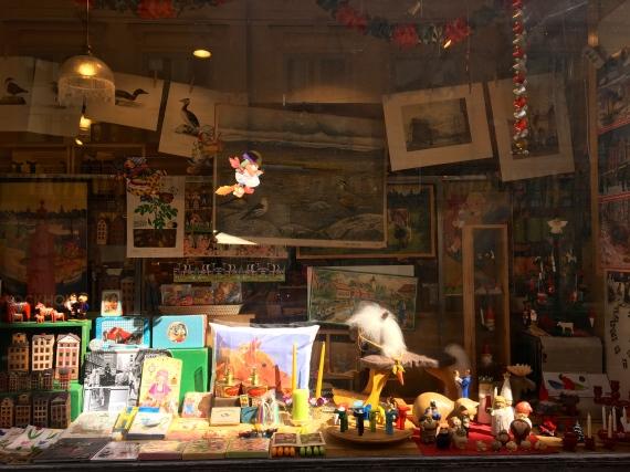 Perusing through Window Displays of Local Handicrafts and Art.